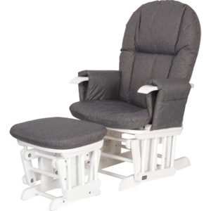 tutti bambini Daisy Deluxe Reclining Glider Chair & Stool with Head Support White Charcoal.png