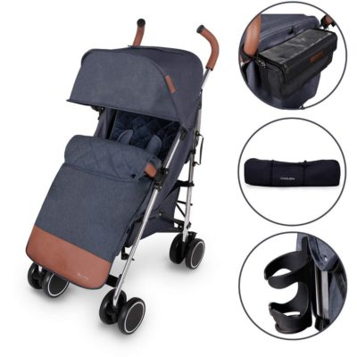 Ickle Bubba Discovery Prime Stroller - Denim Blue on Silver Frame