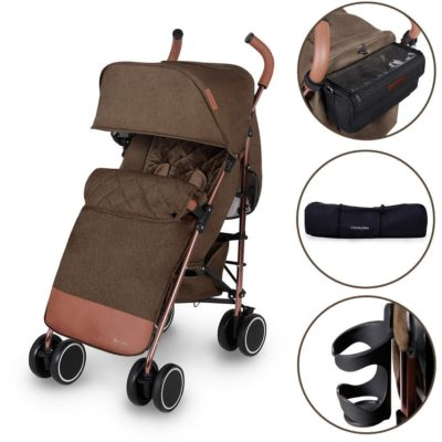 Ickle Bubba Discovery Prime Stroller - Khaki on Rose Gold