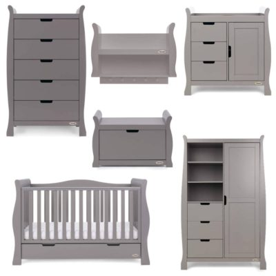 Obaby Stamford Luxe 7 Piece Room Set - Taupe Grey plus Accessories