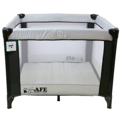 iSafe Zapp And Nap Luxury Square Travel Cot Playpen - Black grey