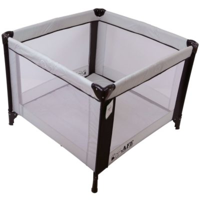 iSafe Zapp And Nap Luxury Square Travel Cot Playpen - BlackGrey