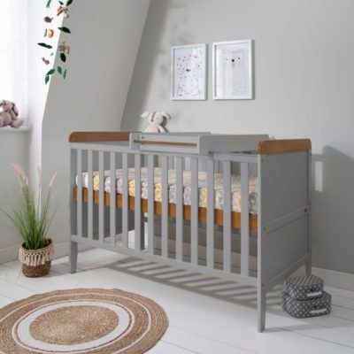 Tutti Bambini Rio Cot Bed, Changer and Mattress - Dove Grey/Oak