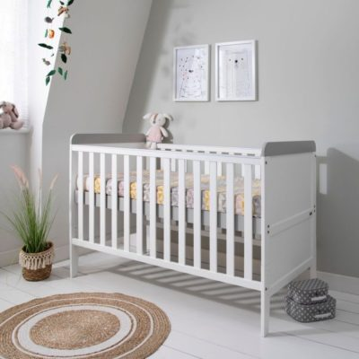 Tutti Bambini Rio Cot Bed, Changer and Mattress - White/Dove Grey