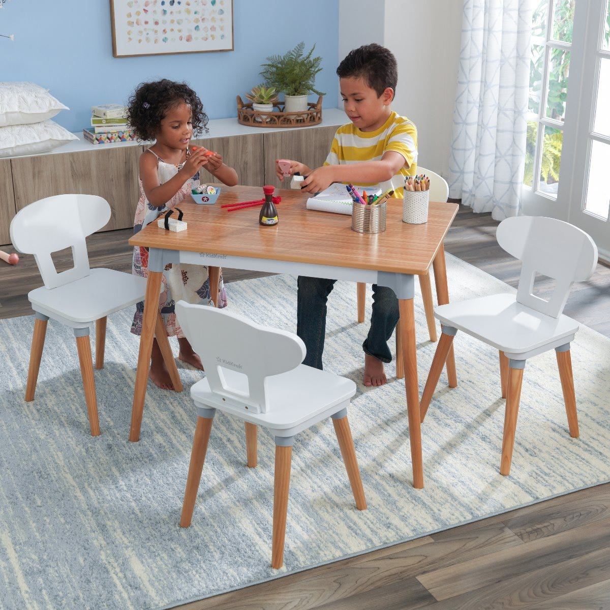 Kiddi Style Childrens Wooden Table and Chair Set Blue