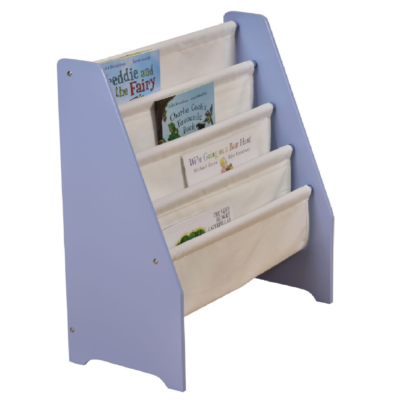 Blue Wooden Book Display with Canvas Pockets