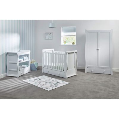 East Coast Nebraska Sleigh Cot2bed Dresser Wardrobe White