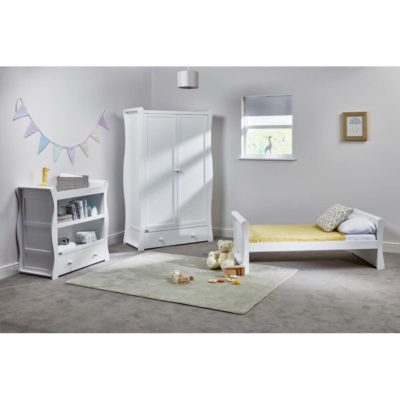East Coast Nebraska Toddler Bed Dresser Wardrobe White
