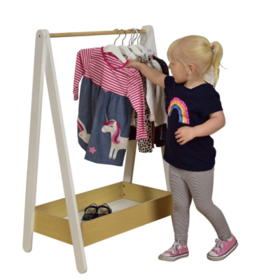 Liberty house toys Children's Dressing Rail – White and Pine