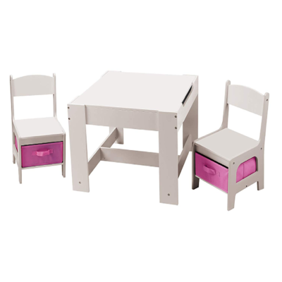 Liberty House Toys White Table and Chairs with Pink Bins