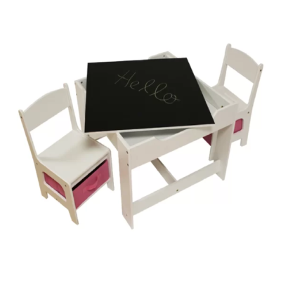 White Table & Chair Set with Pink Bins