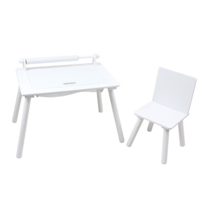 White Writing Table & Chair with Lego board