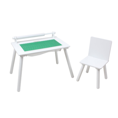 White Writing Table & Chair with Lego board1