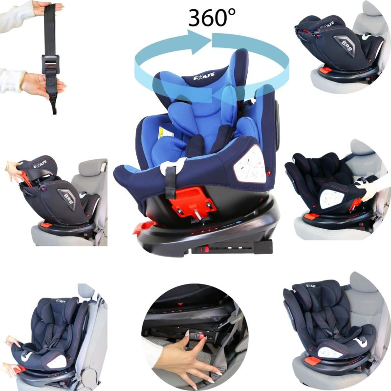 iSafe All Stages 360° Rotating Baby Car Seat Carseat Group 0+123 - Blue