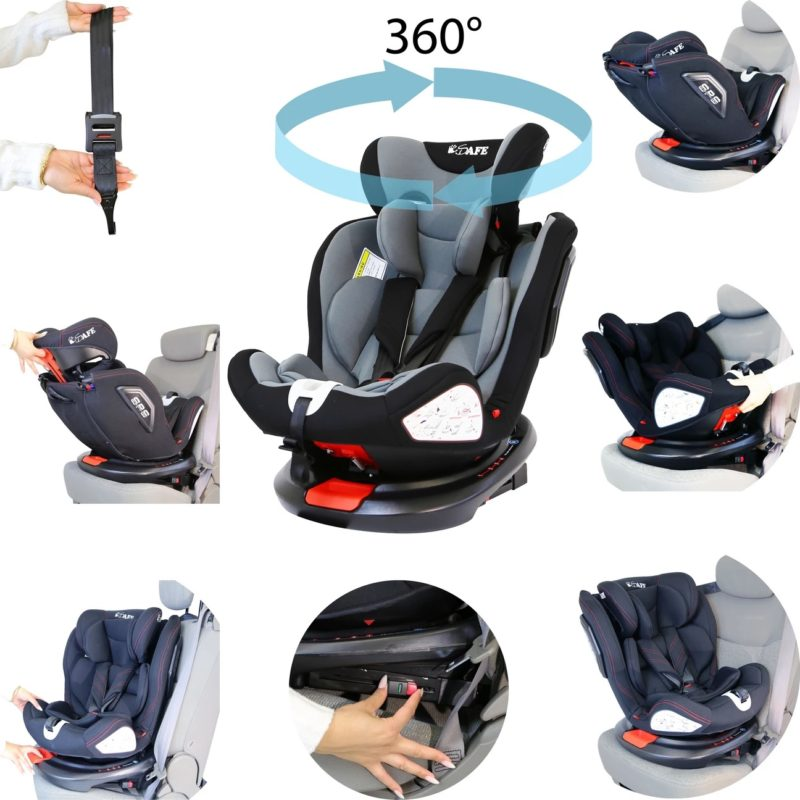 iSafe All Stages 360° Rotating Baby Car Seat Carseat Group 0+123 - Grey