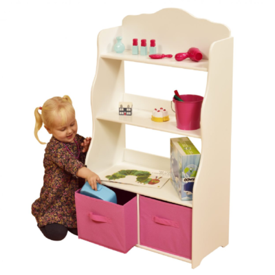 liberty house toys White Bookshelf with Pink Bins1
