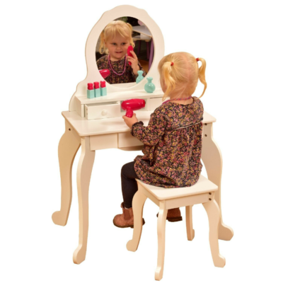 liberty house toys white dressing up table and stool1