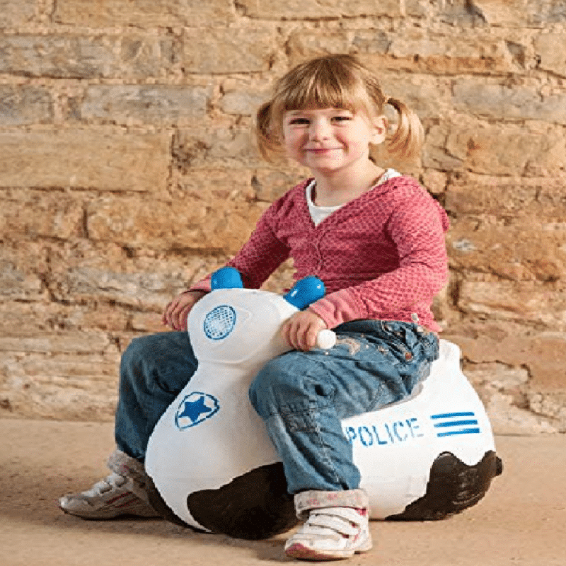 happy hopperz white police bike