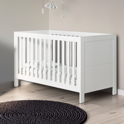 Babyhoot Grantham Cot Bed brushed white