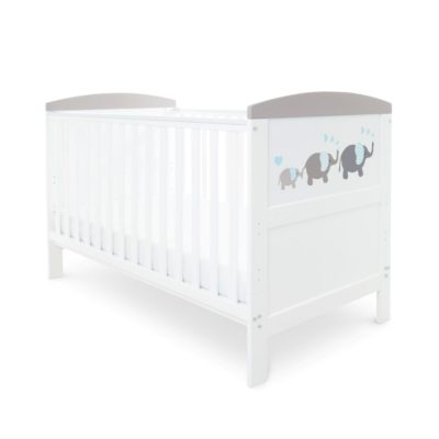 Babyhoot Style Cot Bed Elephant Love Grey