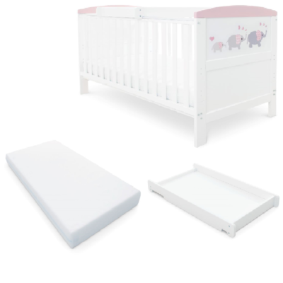 Babyhoot Style Cot Bed Mattress Cot Top Changer - ELEPHANT LOVE PINK