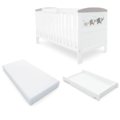 Babyhoot Style Cot Bed Mattress Cot Top Changer - ELEPHANT LOVE grey