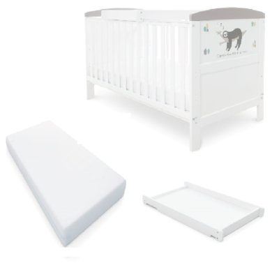 Babyhoot Style Cot Bed Mattress Cot Top Changer - Sloth Grey