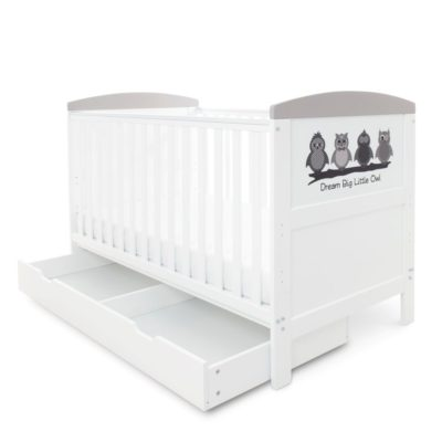 Babyhoot Style Cot Bed with Under Drawer - Dream Big Little Owl