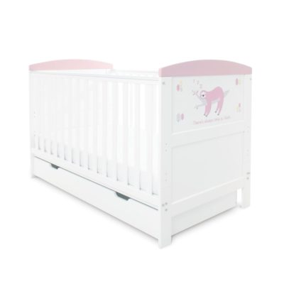 Babyhoot Style Cot Bed with Under Drawer - Sloth Pink