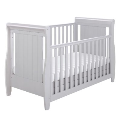 Babymore Stella Dropside Sleigh Cot Bed - Grey