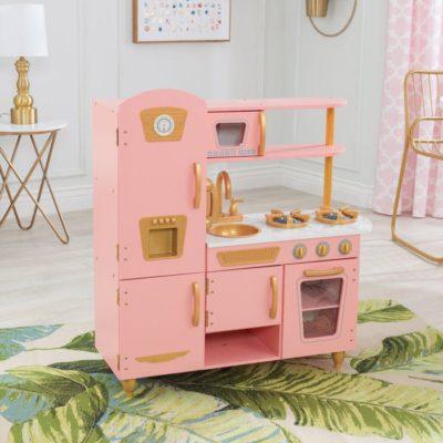 kidkraft limited edition vintage kitchen pink and gold 1