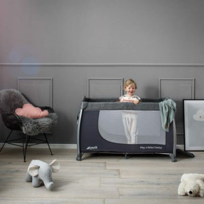 Hauck Play n Relax Centre Melange Grey Travel Cot