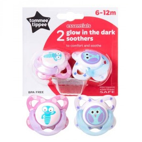 Tommee Tippee Soother Glow in the Dark 6-12 months - Pink