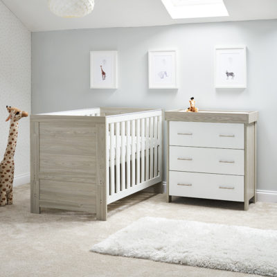 obaby nika 2 piece nursery room set grey wash white