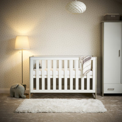 obaby nika cot bed grey wash white