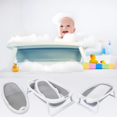 iSafe Flat Foldable Baby Bath and Cradle - Grey