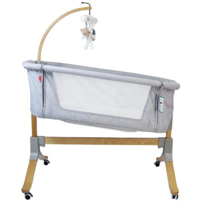 iSafe Cosy Cuddler Bedside Baby Coo Sleeping Crib - Grey