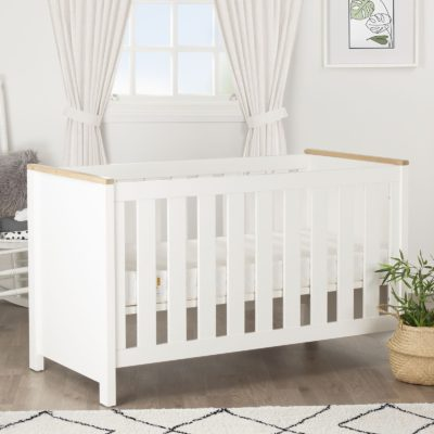 CuddleCo Aylesbury Ash/White Cot Bed