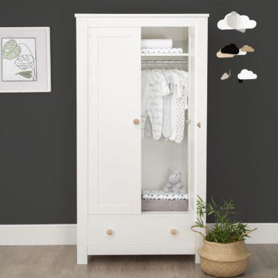 CuddleCo Aylesbury White/Ash 2 Door Double Wardrobe