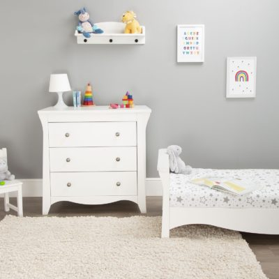 CuddleCo Clara White Cot Bed/Changer Set