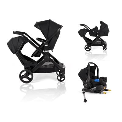 Kids Kargo Glider Tandem Isofix Travel System - Black