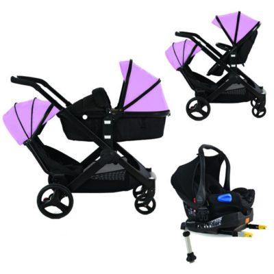 Kids Kargo Glider Tandem Isofix Travel System - Pink