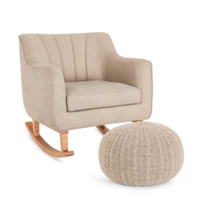 Noah Rocking Chair & Pouffe Set – Stone