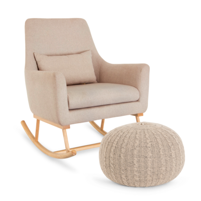Oscar Rocking Chair & Pouffe Set – Stone