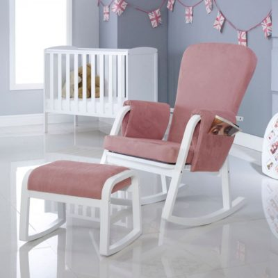 ickle bubba dursley rocking chair and stool blush pink