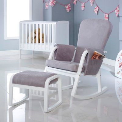ickle bubba dursley rocking chair and stool grey
