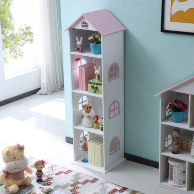 liberty house tall bookcase with pink roof