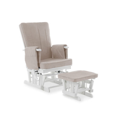 obaby deluxe reclining glider chair white with sand cushions