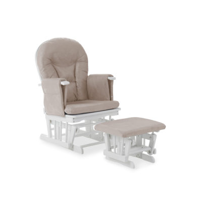 obaby reclining glider chair white and sand