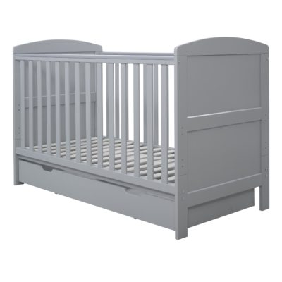 Ickle Bubba Coleby Grey Cot Bed with Under Drawer